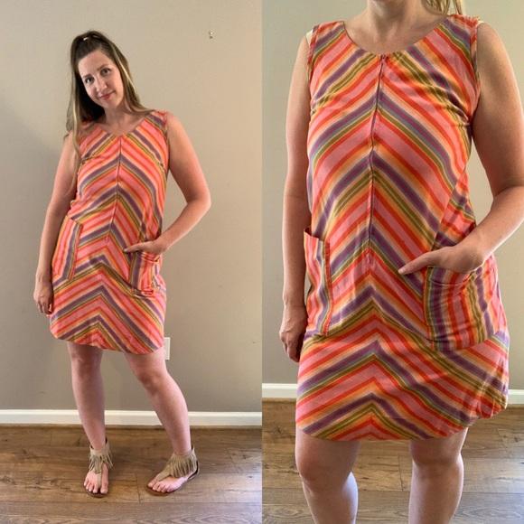 Vintage Dresses & Skirts - Vintage 60s Rainbow Stripe Shift dress w/ Pockets